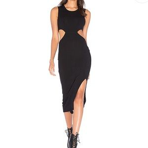 Ribbed Union Dress in Black Size Medium